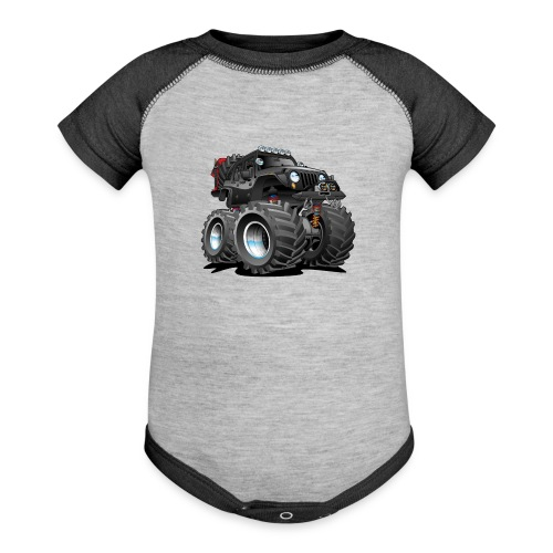 Off road 4x4 black jeeper cartoon - Contrast Baby Bodysuit