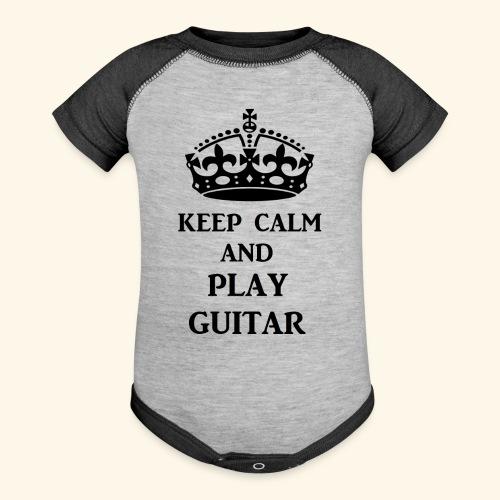 keep calm play guitar blk - Baseball Baby Bodysuit
