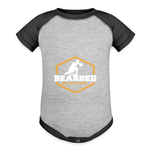 The Bearded Baller Brand White and Gold - Baseball Baby Bodysuit