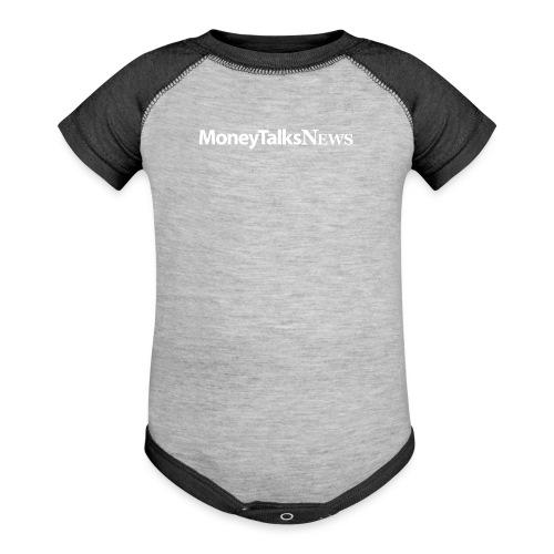 Money Talks News Logo - White - Baseball Baby Bodysuit