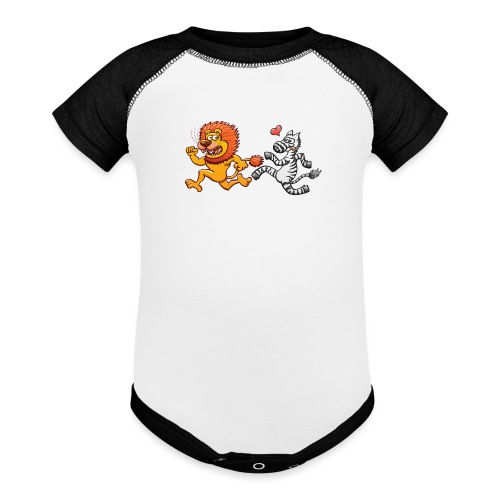 Bold zebra in love running after a scared lion - Baseball Baby Bodysuit