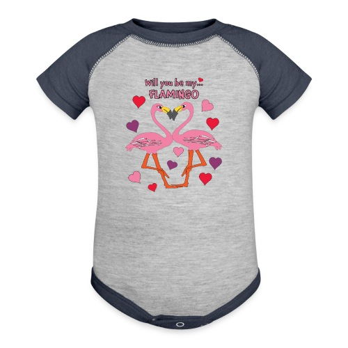 Will You be my Flamingo Valentine Kisses - Baseball Baby Bodysuit