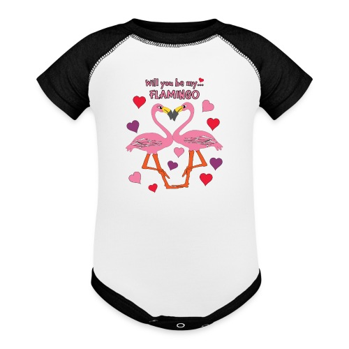 Will You be my Flamingo Valentine Kisses - Baseball Baby Bodysuit