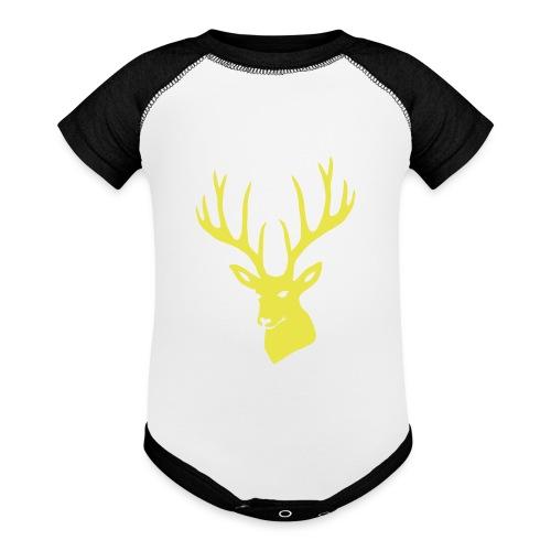 stag night deer buck antler hart cervine elk - Baseball Baby Bodysuit