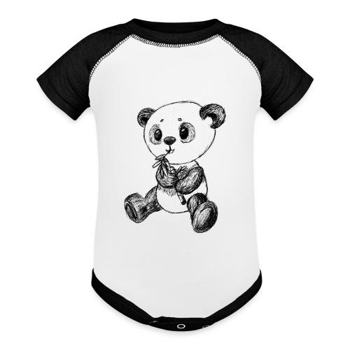 Panda bear black scribblesirii - Baseball Baby Bodysuit