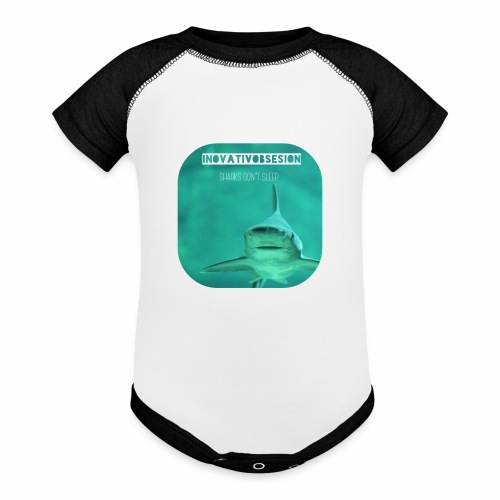 "InovativObsesion ""SHARKS DON'T SLEEP"" apparel - Contrast Baby Bodysuit"