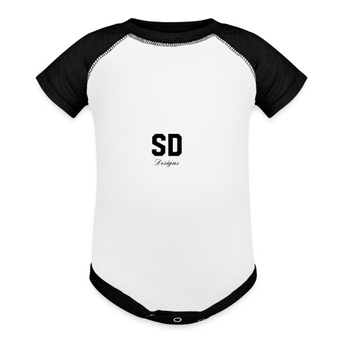 SD Designs blue, white, red/black merch - Baseball Baby Bodysuit