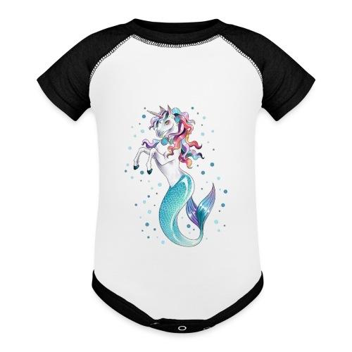 unicorn mermaid - Contrast Baby Bodysuit
