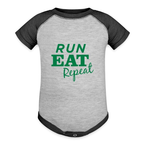 Run Eat Repeat buttons medium - Baseball Baby Bodysuit