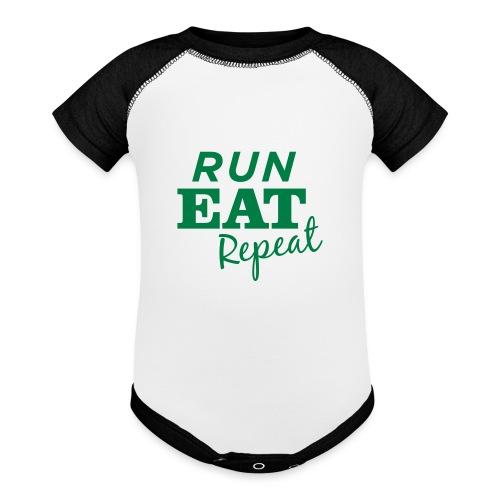Run Eat Repeat buttons medium - Baseball Baby Bodysuit