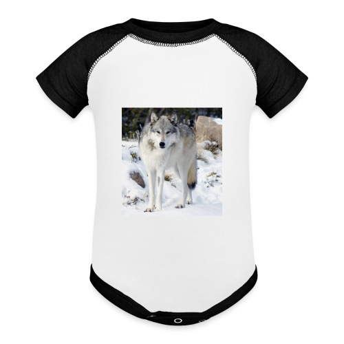 Canis lupus occidentalis - Baseball Baby Bodysuit