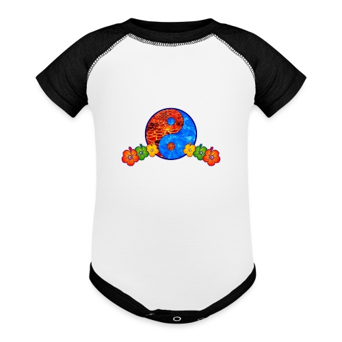 Lava and Water Yin Yang with Hibiscus Flowers - Baseball Baby Bodysuit