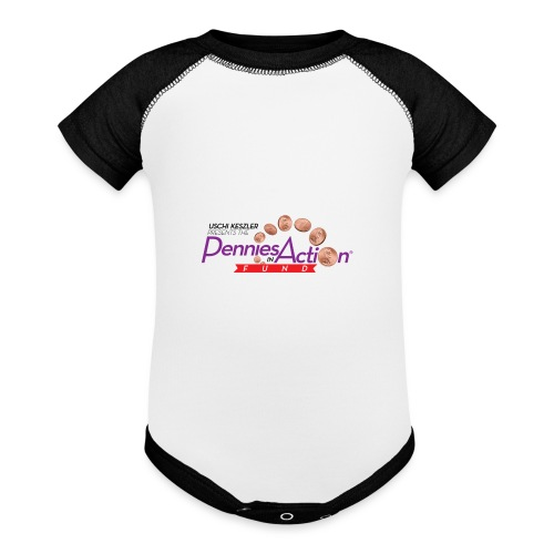 Pennies In Action Logo - Baseball Baby Bodysuit