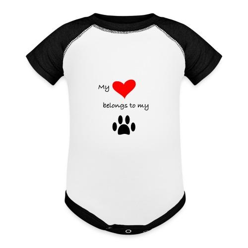 Dog Lovers shirt - My Heart Belongs to my Dog - Baseball Baby Bodysuit