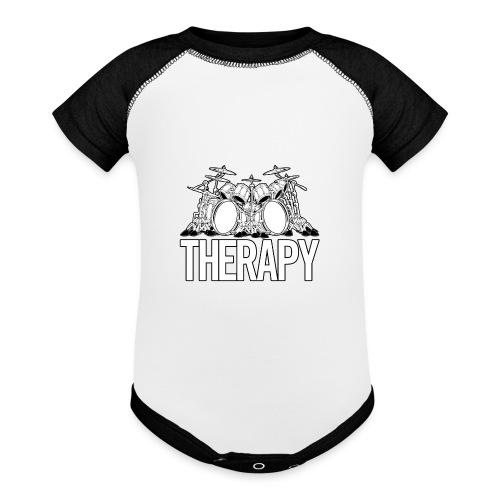 Drummers Therapy Drum Set Cartoon Illustration - Contrast Baby Bodysuit