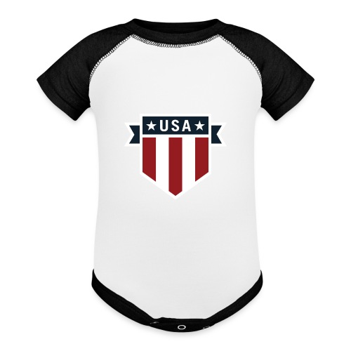 USA Pride Red White and Blue Patriotic Shield - Baseball Baby Bodysuit