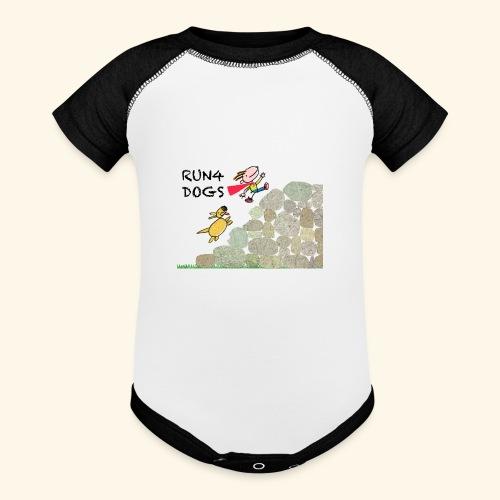Dog chasing kid - Baseball Baby Bodysuit