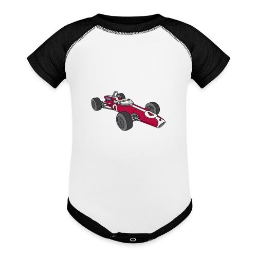 Red racing car, racecar, sportscar - Baseball Baby Bodysuit