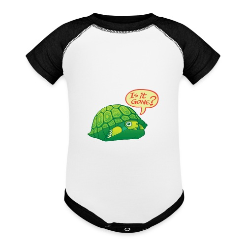Turtle asking if it's good time to go out of shell - Baseball Baby Bodysuit