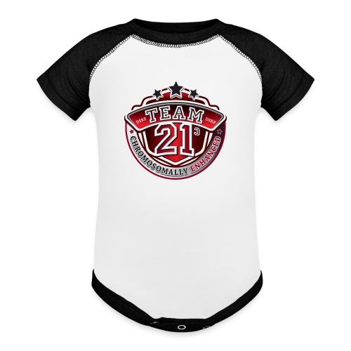 Team 21 - Chromosomally Enhanced (Red) - Baseball Baby Bodysuit