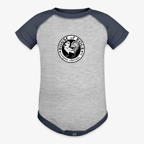 House of Rock round logo - Baseball Baby Bodysuit