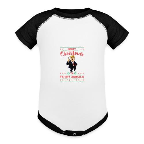 MEERRY CHRISTMAS YA FILTHY ANIMALS - Baseball Baby Bodysuit