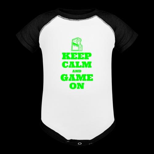 Keep Calm and Game On | Retro Gamer Arcade - Baseball Baby Bodysuit