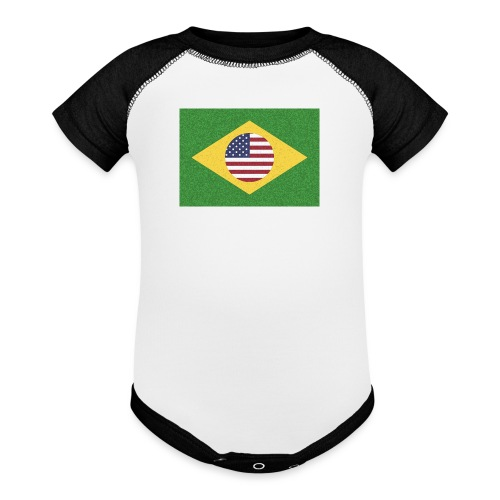 Brazil and USA Flag - Contrast Baby Bodysuit