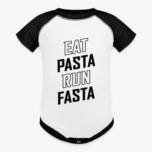 Eat Pasta Run Fasta v2 - Baseball Baby Bodysuit