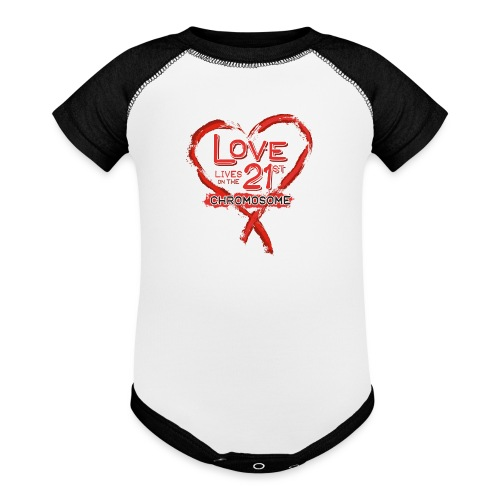 Down Syndrome Love (Red) - Contrast Baby Bodysuit
