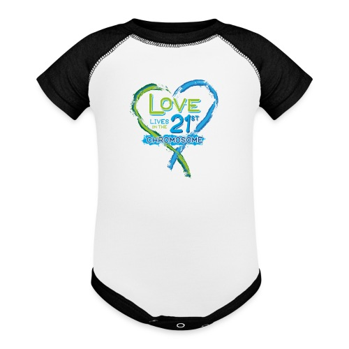 Down Syndrome Love (Blue) - Contrast Baby Bodysuit