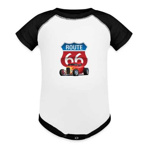 Route 66 Sign with Classic American Red Hotrod - Baseball Baby Bodysuit