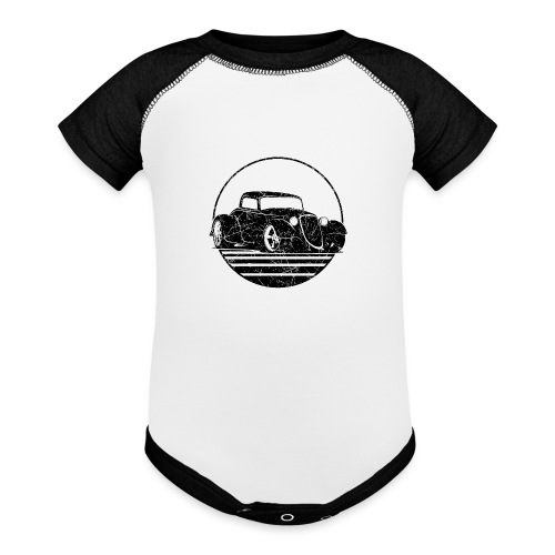 Retro Hot Rod Grungy Sunset Illustration - Baseball Baby Bodysuit