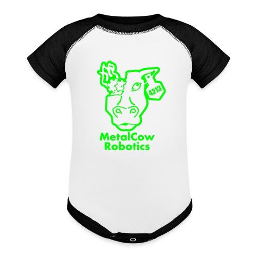 MetalCowLogo GreenOutline - Baseball Baby Bodysuit
