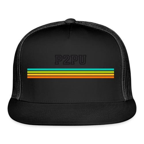 striped mug black logo png - Trucker Cap