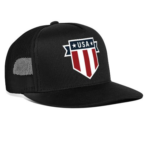 USA Pride Red White and Blue Patriotic Shield - Trucker Cap