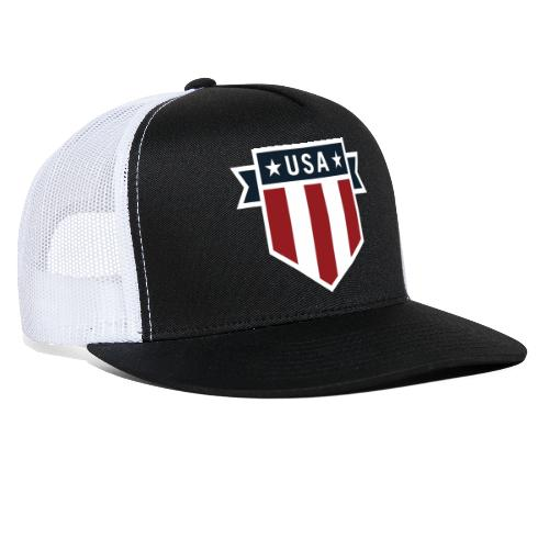 USA Pride Red White and Blue Patriotic Shield - Trucker Cap