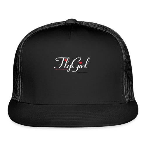 FlyGirlTextWhite W Black png - Trucker Cap