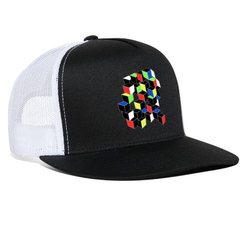 Optical Illusion Shirt - Cubes in 6 colors- Cubist - Trucker Cap