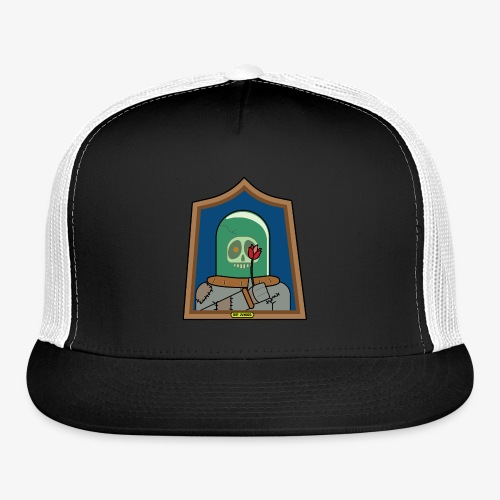RIP Junior Sad Surreal Steampunk Skull with flower - Trucker Cap