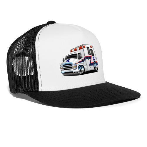 Paramedic EMT Ambulance Rescue Truck Cartoon - Trucker Cap