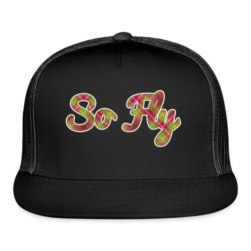 So Fly Pink and Green Plaid - Trucker Cap