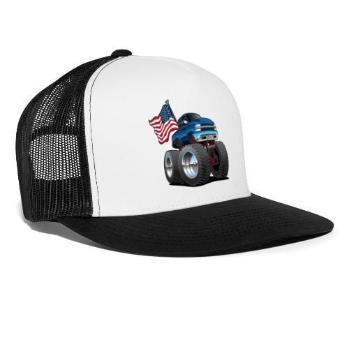 Monster Pickup Truck with USA Flag Cartoon - Trucker Cap