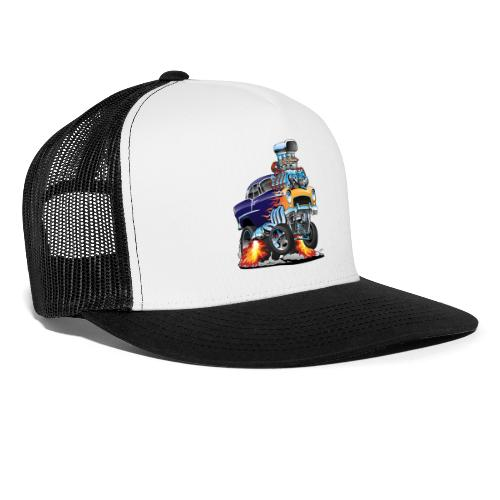 Classic Fifties Hot Rod Muscle Car Cartoon - Trucker Cap