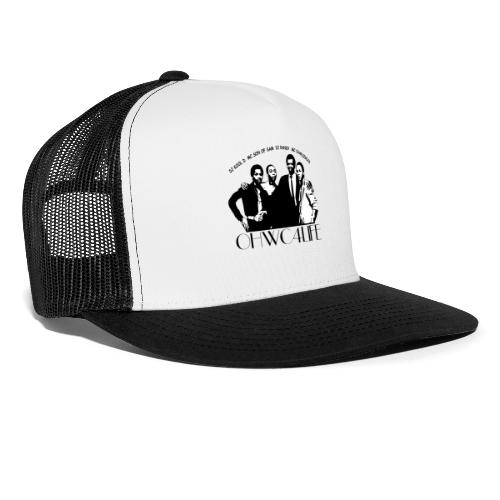 ohwc text silhouette blk & wh with crew names - Trucker Cap