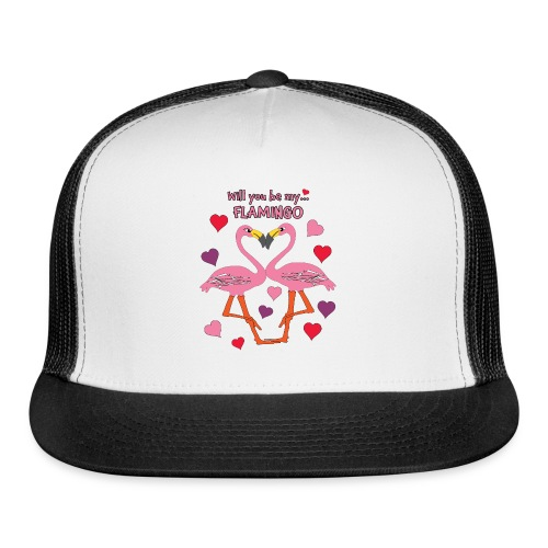 Will You be my Flamingo Valentine Kisses - Trucker Cap