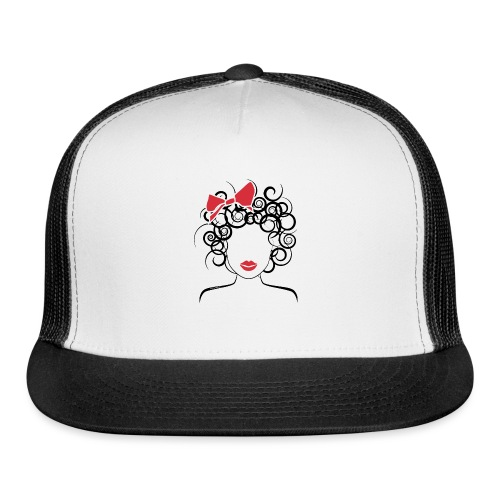 Curly Girl with Red Bow_Global Couture_logo T-Shir - Trucker Cap