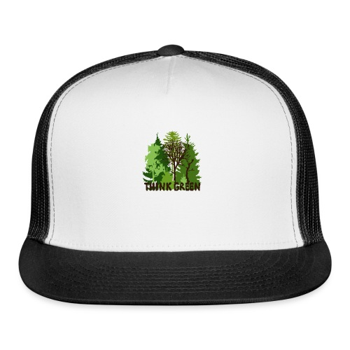 EARTHDAYCONTEST Earth Day Think Green forest trees - Trucker Cap