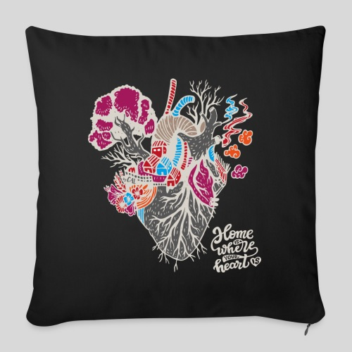 "Home is where your heart is - Throw Pillow Cover 18"" x 18"""