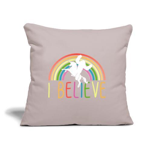 "I Believe in Unicorns and Sasquatch Bigfoot - Throw Pillow Cover 17.5"" x 17.5"""